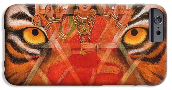 Hindu Goddess iPhone Cases - Goddess Durga iPhone Case by Sue Halstenberg