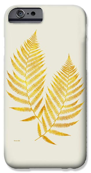 IPhone 6 Case featuring the mixed media Gold Fern Leaf Art by Christina Rollo
