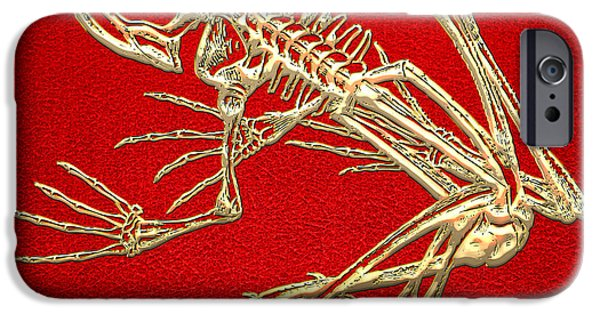 Gold Frog Skeleton On Red Leather IPhone 6 Case by Serge Averbukh