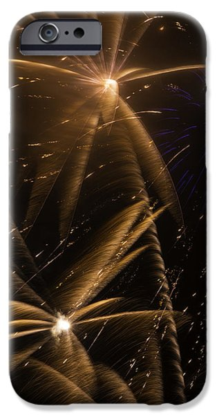 4th July Photographs iPhone Cases - Golden Fireworks iPhone Case by Garry Gay