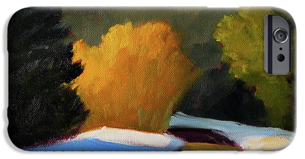 IPhone 6 Case featuring the painting Golden Light Winter Road by Nancy Merkle