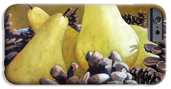 Canadiens Paintings iPhone Cases - Golden Pears and Pine Cones iPhone Case by Richard T Pranke