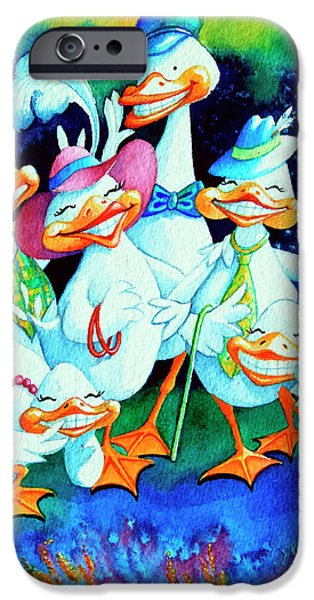 Childrens Books iPhone Cases - Goofy Gaggle of Grinning Geese iPhone Case by Hanne Lore Koehler
