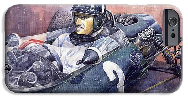 Racingcars iPhone Cases - Graham Hill BRM P261 1965 iPhone Case by Yuriy  Shevchuk