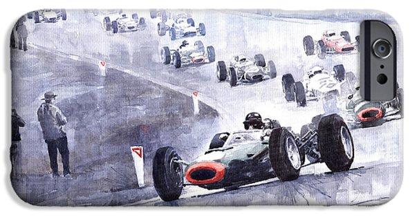 Racingcars iPhone Cases - Graham Hill BRM P261 Belgian GP 1965 iPhone Case by Yuriy  Shevchuk