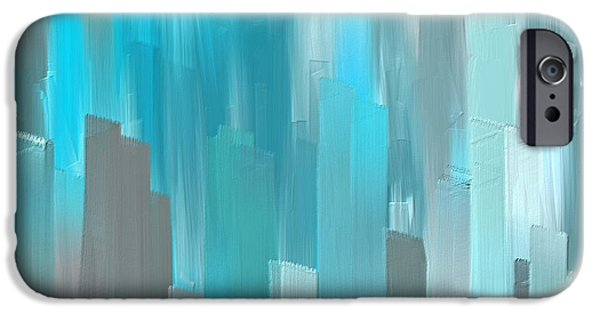 Light Blue Abstracts iPhone Cases - Gray And Teal Abstract Art iPhone Case by Lourry Legarde