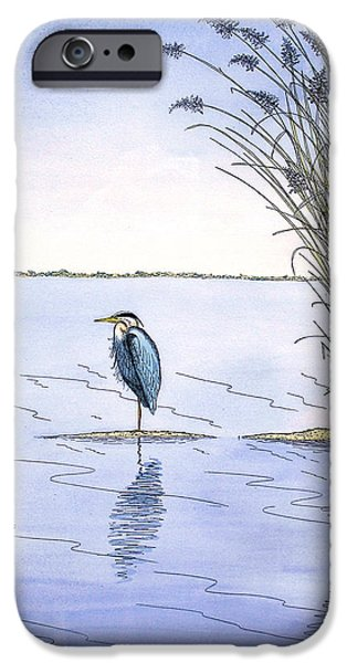 Sand Dunes Mixed Media iPhone Cases - Great Blue Heron iPhone Case by Charles Harden