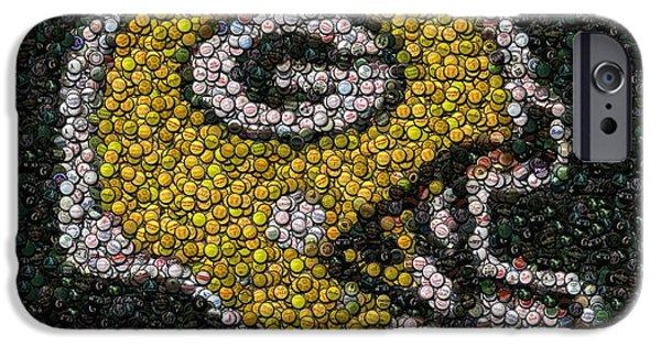Mosaic Mixed Media iPhone Cases - Green Bay Packers Bottle Cap Mosaic iPhone Case by Paul Van Scott