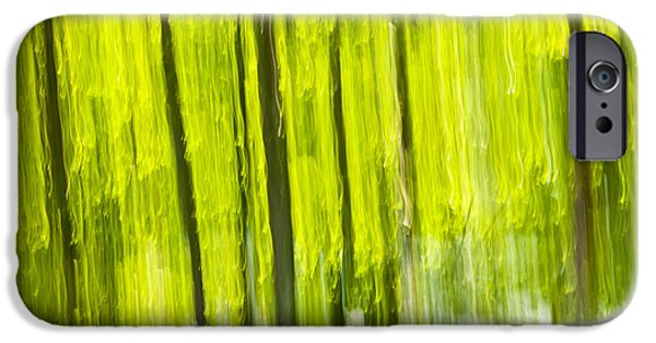 Organic iPhone Cases - Green forest abstract iPhone Case by Elena Elisseeva