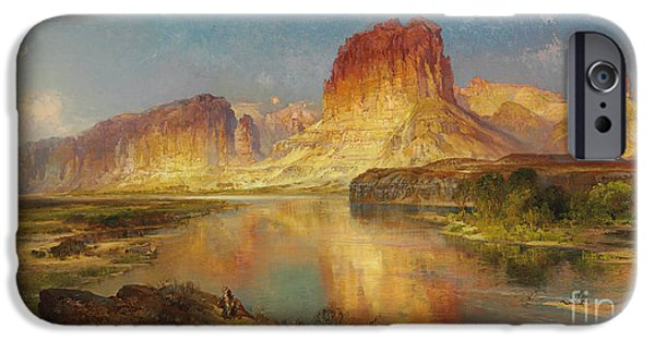 Rock Formation iPhone Cases - Green River of Wyoming iPhone Case by Thomas Moran