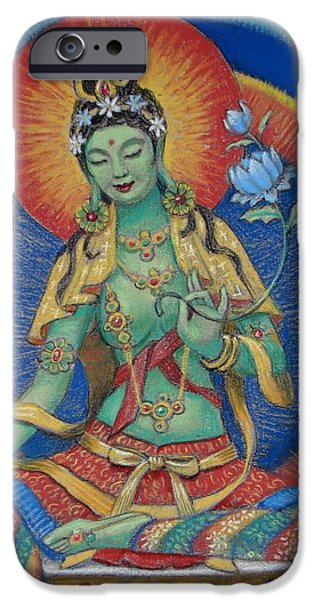 Spiritual Pastels iPhone Cases - Green Tara iPhone Case by Sue Halstenberg