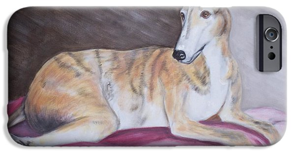 Rescued Greyhound iPhone Cases - Greyhound Number 2 iPhone Case by George Pedro
