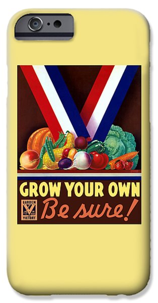 Food Stores iPhone Cases - Grow Your Own Victory Garden iPhone Case by War Is Hell Store