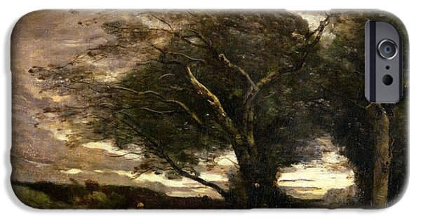 Figures iPhone Cases - Gust of Wind iPhone Case by Jean Baptiste Camille Corot