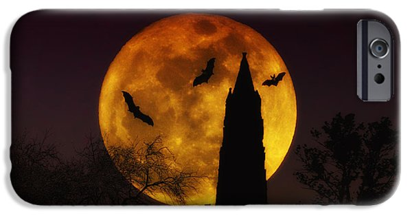 Ghoul iPhone Cases - Halloween Moon iPhone Case by Bill Cannon