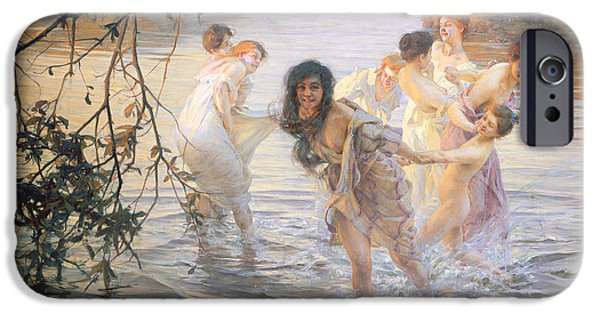 Dancing Girl Paintings iPhone Cases - Happy Games iPhone Case by Paul Chabas