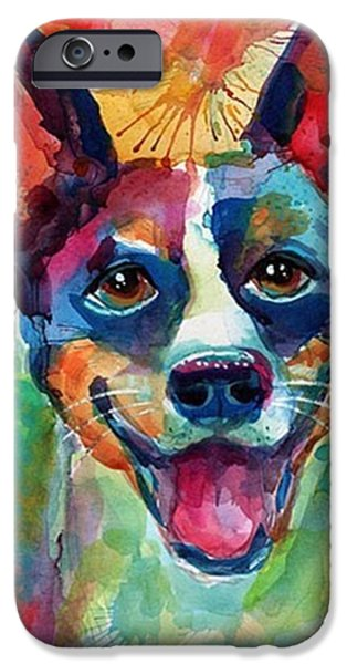 iPhone 6 Case - Happy Rat Terrier Watercolor Portrait by Svetlana Novikova