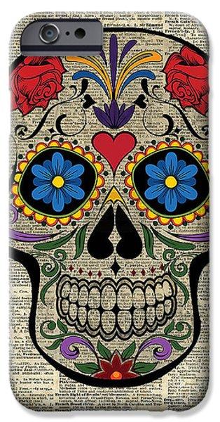 Happy Skull,sugar Skull,dia De Los Muertos,halloween Artwork IPhone 6 Case