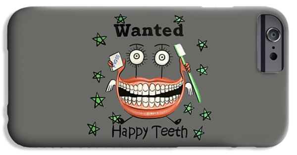 Shirt Digital iPhone Cases - Happy Teeth T-Shirt iPhone Case by Anthony Falbo