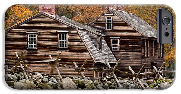 Concord Massachusetts iPhone Cases - Hartwell Tarvern in Autumn iPhone Case by Susan Cole Kelly