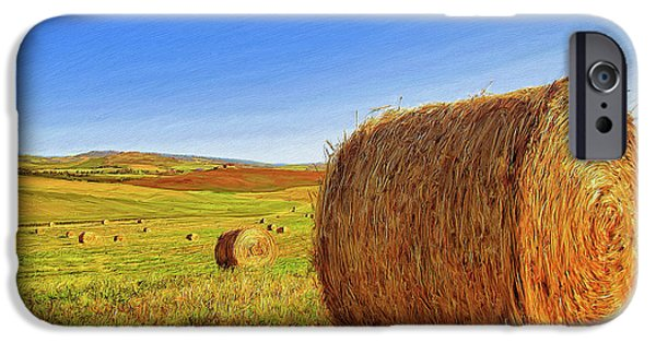 Haybales Paintings iPhone Cases - Hay Bales iPhone Case by Dominic Piperata