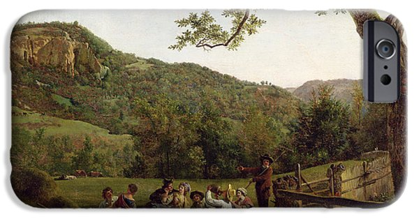 Hill iPhone Cases - Haymakers Picnicking in a Field iPhone Case by Jean Louis De Marne