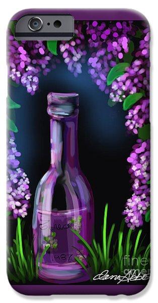 Wine Bottles iPhone Cases - Hazy Lilac Dream iPhone Case by Danise Abbott