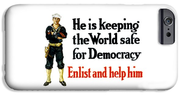 Navy iPhone Cases - He Is Keeping The World Safe For Democracy iPhone Case by War Is Hell Store