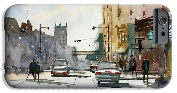 Wisconsin Paintings iPhone Cases - Heading West on College Avenue - Appleton iPhone Case by Ryan Radke