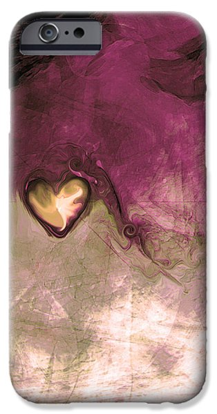 Abstract Energy Art iPhone Cases - Heart Of Gold iPhone Case by Linda Sannuti