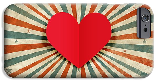 Day iPhone Cases - Heart With Ray Background iPhone Case by Setsiri Silapasuwanchai