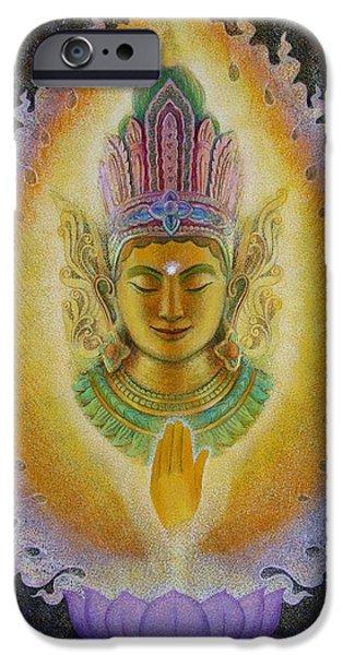 Buddha Art iPhone Cases - Hearts Fire Buddha iPhone Case by Sue Halstenberg
