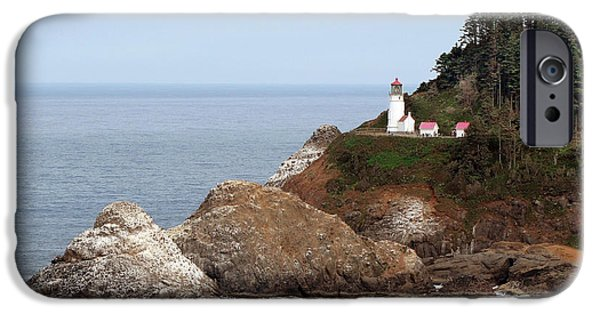 Head Harbour Lighthouse iPhone Cases - Heceta Head Lighthouse - Oregons Scenic Pacific Coast Viewpoint iPhone Case by Christine Till