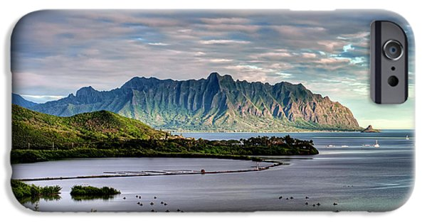Fish Pond iPhone Cases - Heeia Fish Pond and Kualoa iPhone Case by Dan McManus