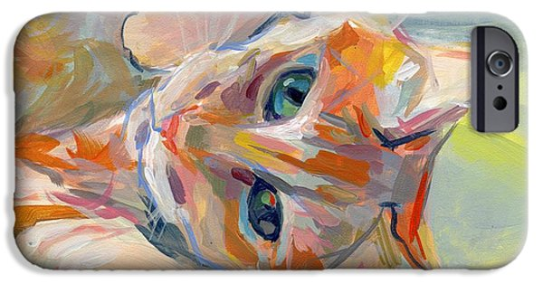 Orange Tabby iPhone Cases - Hello Kitty iPhone Case by Kimberly Santini