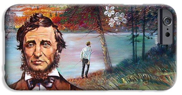 Thoreau iPhone Cases - Henry David Thoreau iPhone Case by John Lautermilch