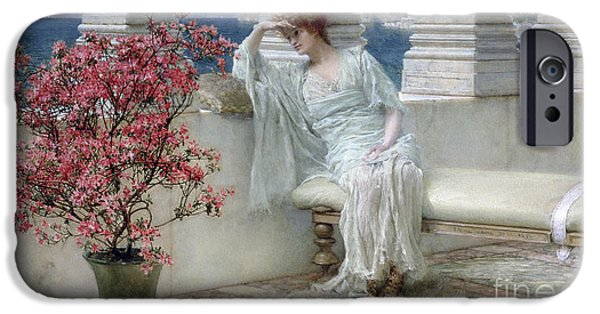 Daydream iPhone Cases - Her eyes are with her thoughts and they are far away iPhone Case by Sir Lawrence Alma-Tadema