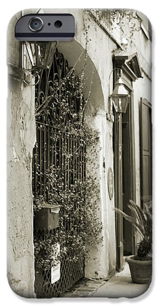 Historic Home iPhone Cases - Historic Home Wrought Iron Gate Charleston Sepia iPhone Case by Dustin K Ryan