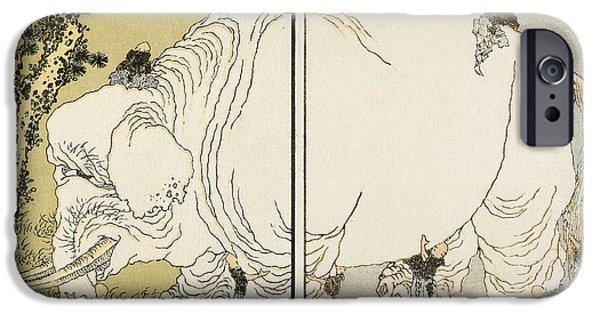 Manga iPhone Cases - Hokusai: Elephant iPhone Case by Granger