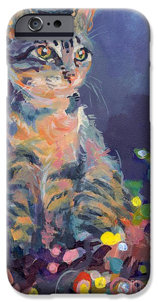 Kitten iPhone Cases - Holiday Lights iPhone Case by Kimberly Santini