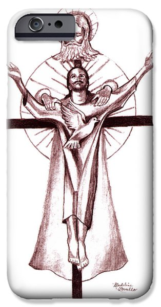 Religious Drawings iPhone Cases - Holy Trinity iPhone Case by Madeline  Lovallo