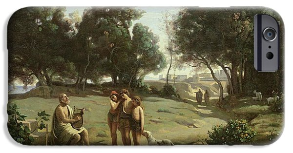 Epic iPhone Cases - Homer and the Shepherds in a Landscape iPhone Case by Jean Baptiste Camille Corot