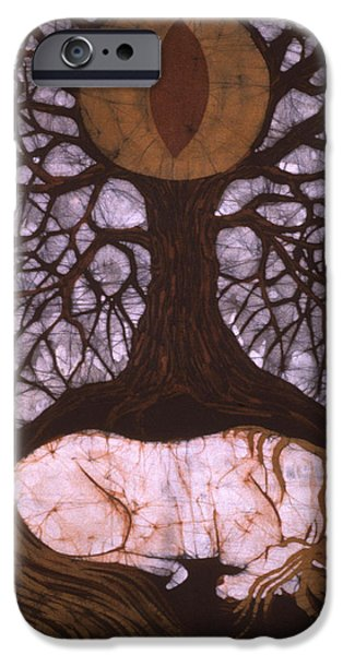 Emergence Tapestries - Textiles iPhone Cases - Horse Sleeps Below Tree of Rebirth iPhone Case by Carol  Law Conklin