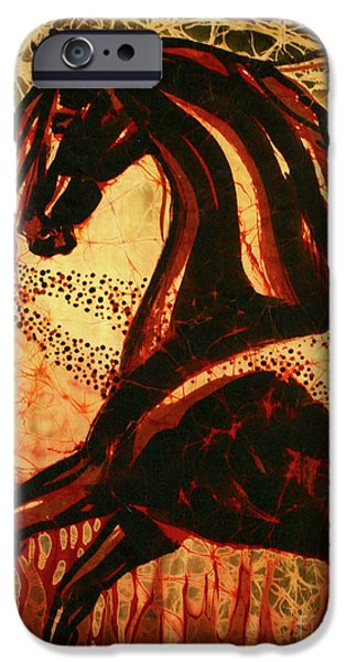 Wild Animals Tapestries - Textiles iPhone Cases - Horse Through Web of Fire iPhone Case by Carol Law Conklin