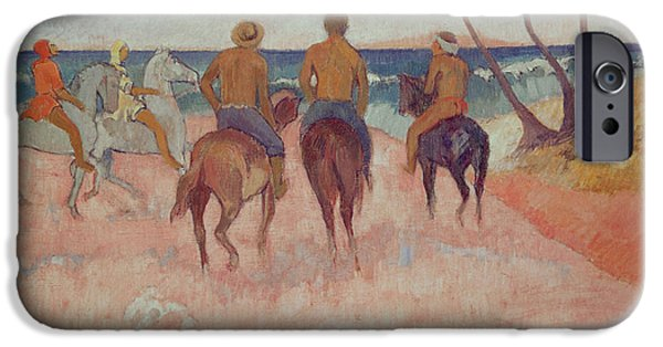 The Horse iPhone Cases - Horseman on the Beach iPhone Case by Paul Gauguin