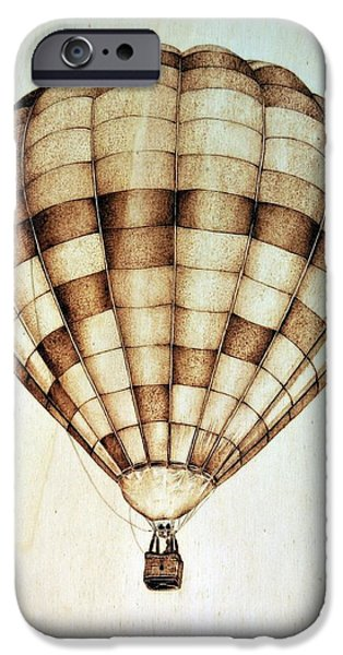 Aviation Pyrography iPhone Cases - Hot air balloon iPhone Case by Ilaria Andreucci