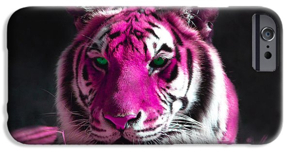 Tiger Art iPhone Cases - Hot pink Tiger iPhone Case by Rebecca Margraf