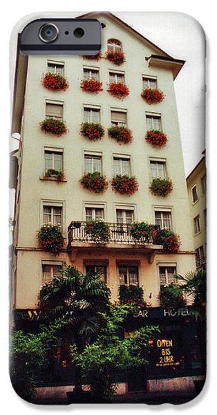 City Scape iPhone Cases - Hotel in Down Town Zurich Switzerland iPhone Case by Susanne Van Hulst