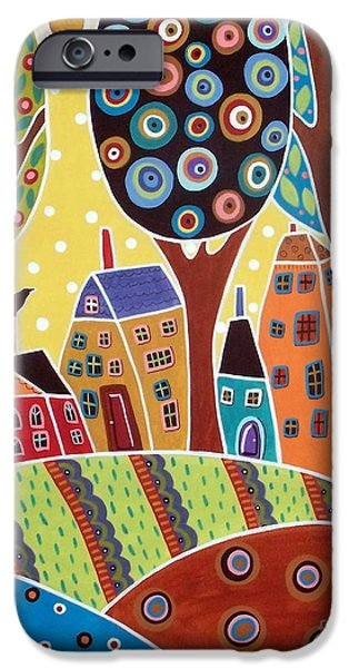 Garden Scene iPhone Cases - Houses Barn Landscape iPhone Case by Karla Gerard