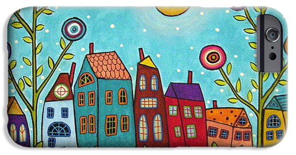 Folk Art Mixed Media iPhone Cases - Houses Blooms And A Moon iPhone Case by Karla Gerard